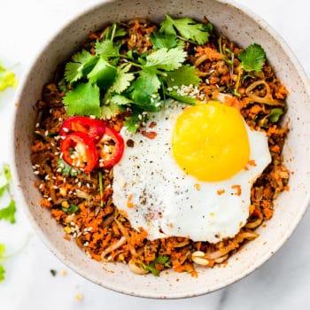 Nasi Goreng breakfast in a bowl