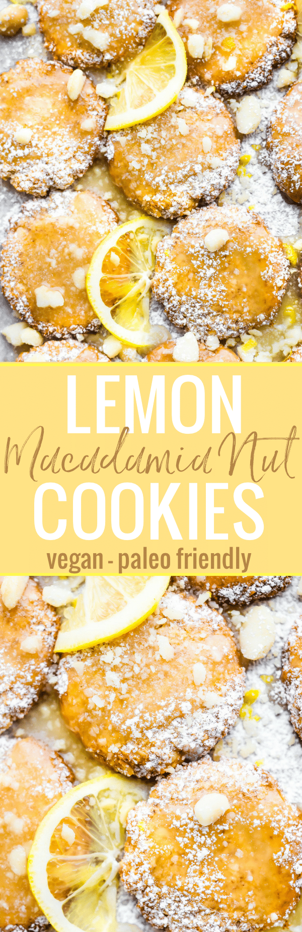 Zesty Lemon Macadamia Nut Cookies have a wonderful flavor combination of coconut, lemon, and buttery macadamia nut! Chewy in the middle. Crispy outside and topped with a simple lemon glaze! So good and easy to make! Paleo friendly and Vegan. www.cottercrunch.com