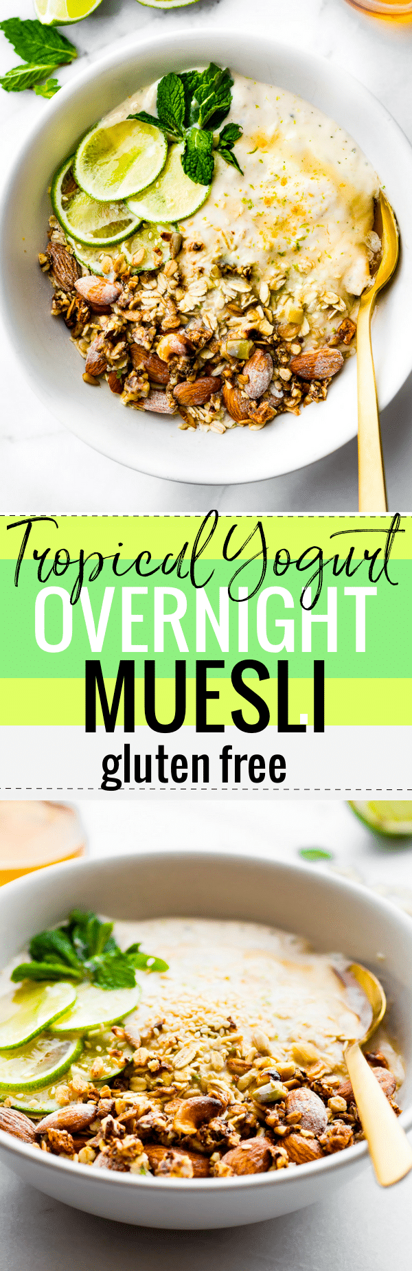 This Zesty Tropical Yogurt Overnight Muesli recipe is the perfect make ahead breakfast bowl! Gluten- free, nutrient rich, and made with siggi's yogurt for a protein boost! #Partnering with @siggisdairy!