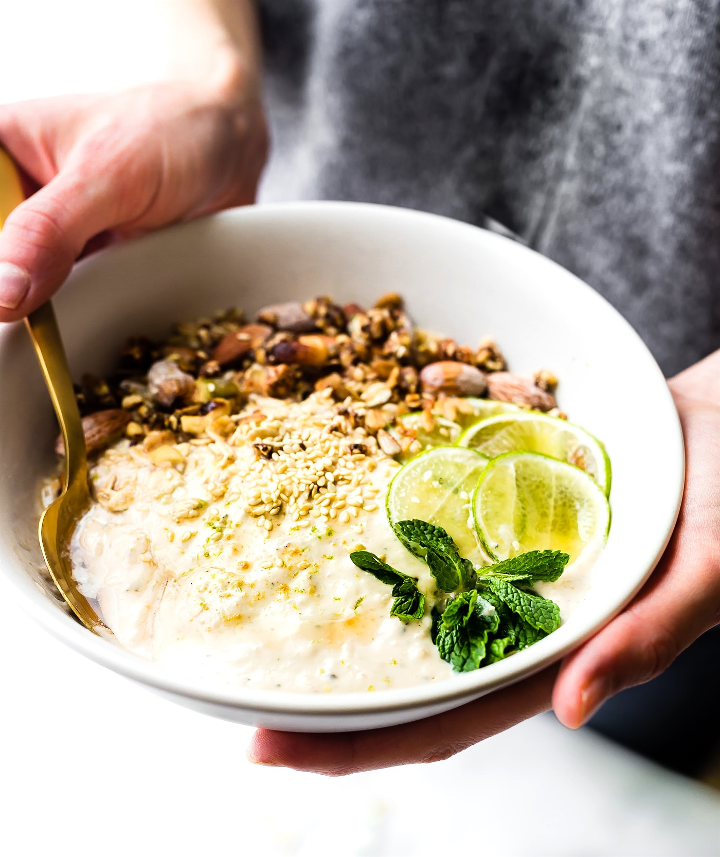 Zesty Tropical Yogurt Overnight Muesli Bowls {Gluten Free}