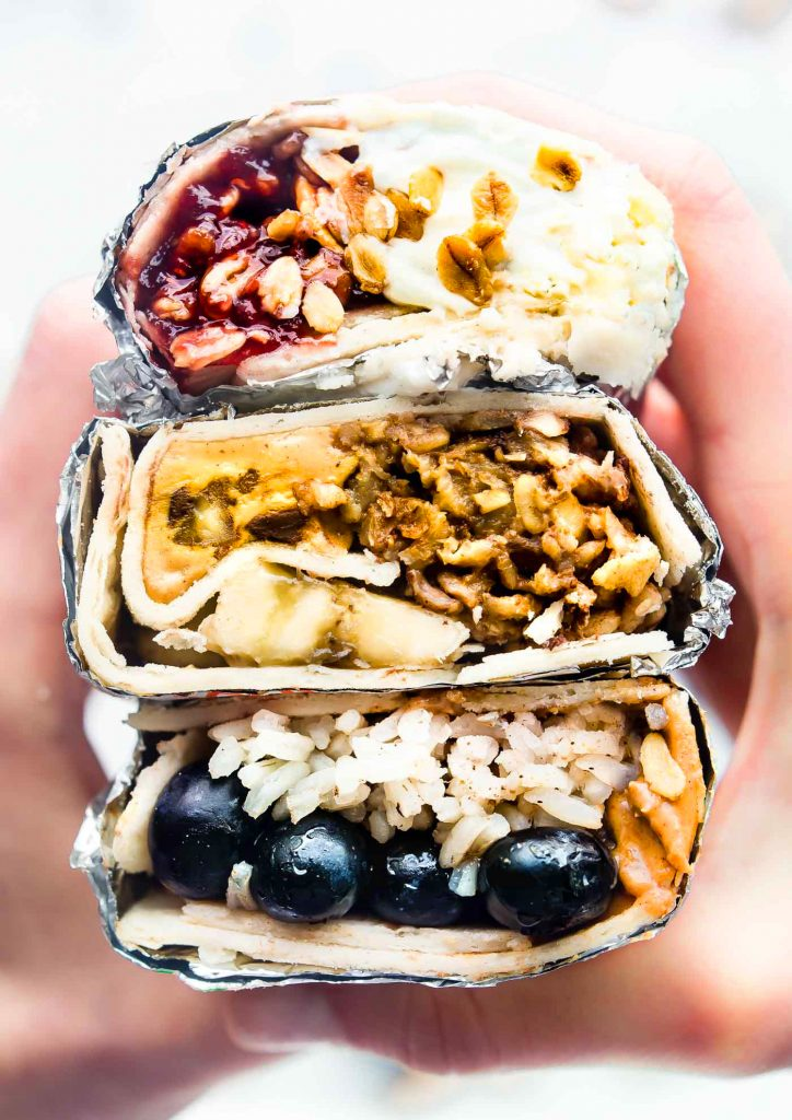 These sweet Gluten-Free breakfast wraps are the perfect grab and go breakfast! Portable, freezer friendly, and filled with wholesome simple ingredients! Literally a healthy breakfast bowl wrapped up to go; 3 ways! Healthy breakfast wraps that will satisfy your hunger on busy schedule.