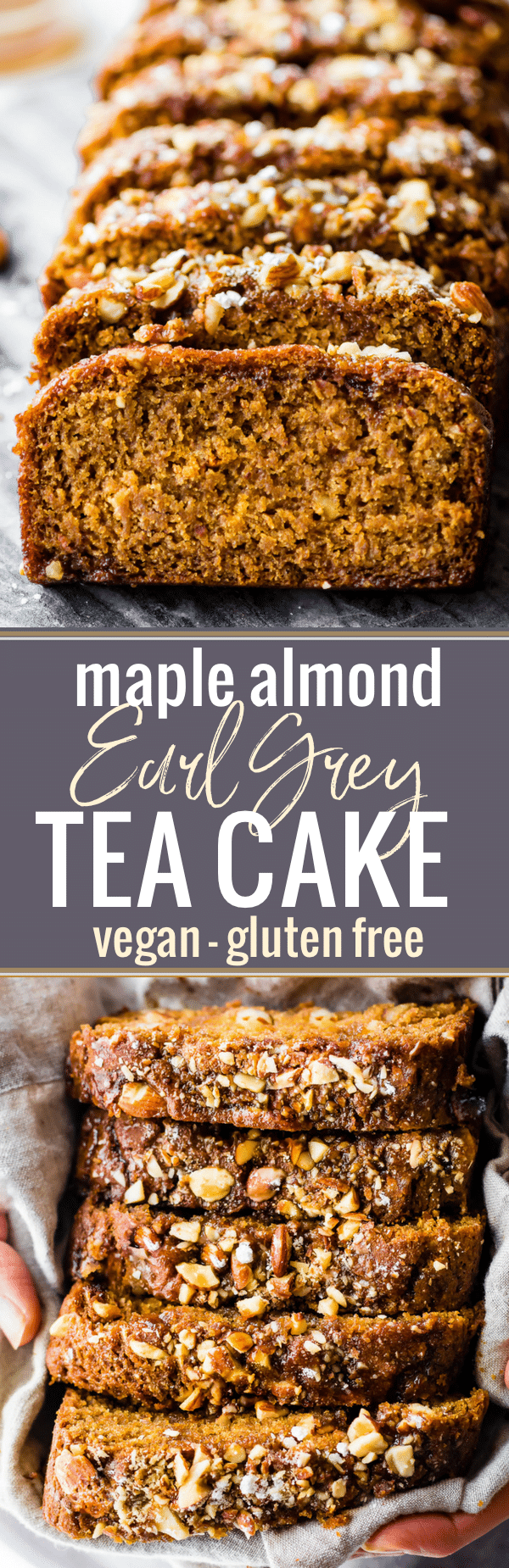 This Vegan Maple Almond Earl Grey Tea cake is lightly sweet and simple. A gluten free buttery tea cake loaf infused with Earl Grey tea and a hint cardamon! The maple almond glaze is the perfect topping. Quick to make in one pan and bakes up in under 45 minutes! www.cottercrunch.com