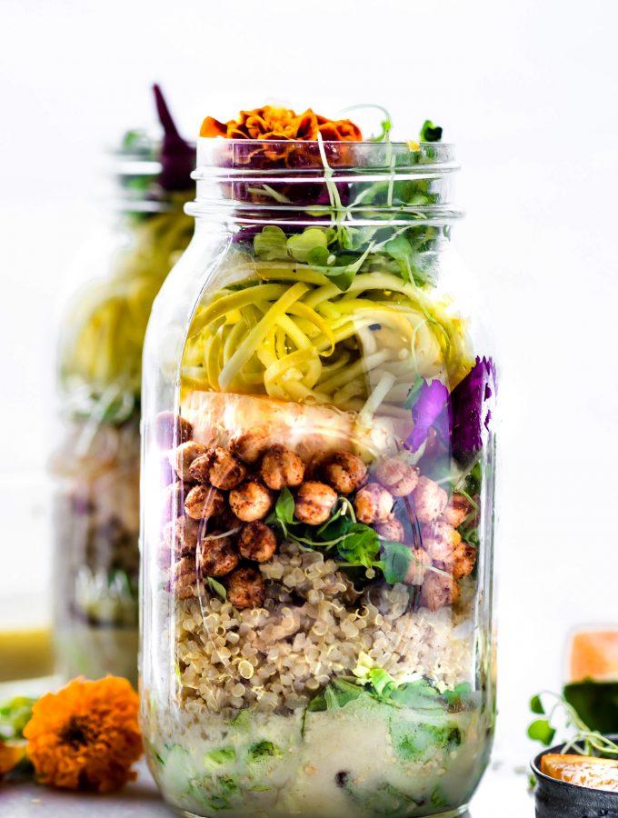 Picnic Ready Mason Jar Salad recipes with sesame yogurt Dressing. Nourishing real food