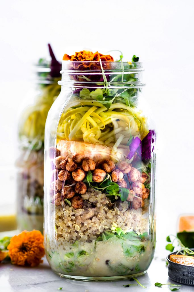 Picnic Ready Mason Jar Salad recipes with sesame yogurt Dressing. Nourishing real food
