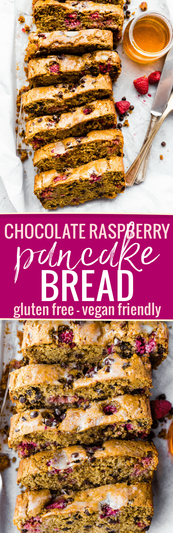 A Gluten Free Chocolate Raspberry Pancake Bread recipe that's great for brunch or breakfast. It's simple to make with wholesome ingredients. An allergy friendly and vegan friendly quick pancake bread recipe with the just the right fruit and chocolate combo. Freezer friendly too! www.cottercrunch.com