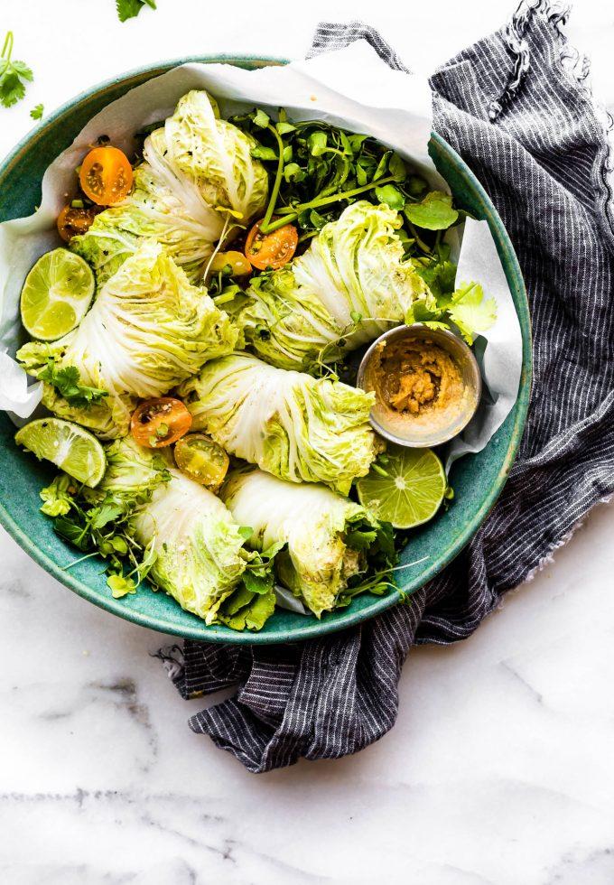 gluten free leftovers meal idea - Miso Mango Chicken Salad Wraps