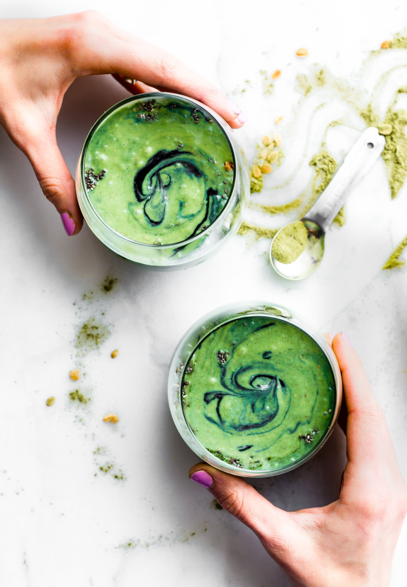 """CREAMYCOCONUT SPIRULINA SUPERFOOD SMOOTHIE recipe isan easy way to boost Energy and Protein intake with real food. No protein powder needed. A """"balanced"""" creamy Superfood smoothie with coconut milk, spirulina, fruit, avocado, ginger root, and a pinch antioxidant rich spices! Paleo and Vegan friendly"""