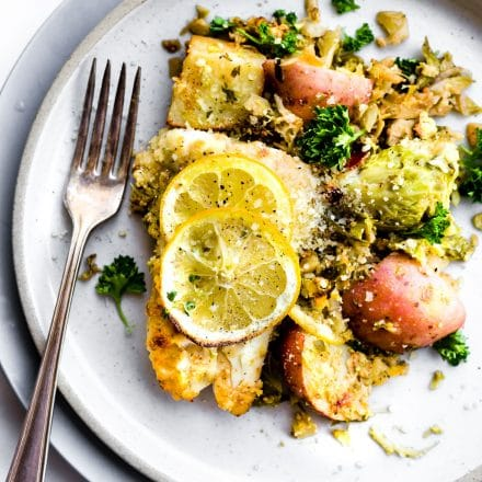 Honey Mustard Baked Fish and Veggies {One Pan Meal}