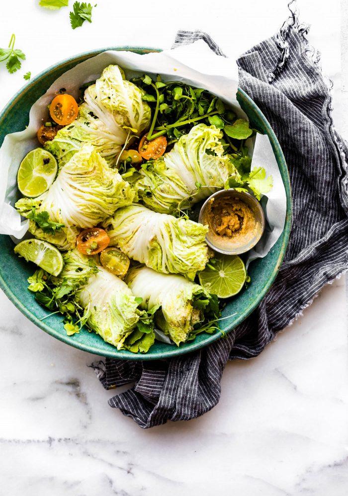 mango chicken salad cabbage wraps