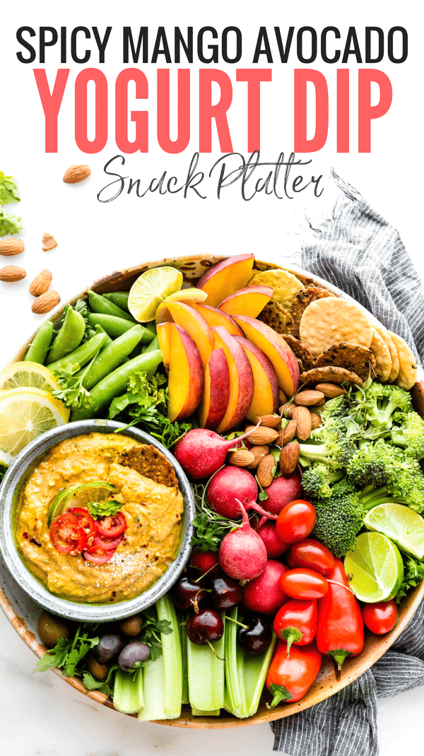 This Spicy mango avocado yogurt dip is NOT your average healthy appetizer! It's A NEW TASTY way to eat veggies! Mango, yogurt, avocado, and a kick of spice from chilis makes this easy snack recipe a protein rich dip! www.cottercrunch.com