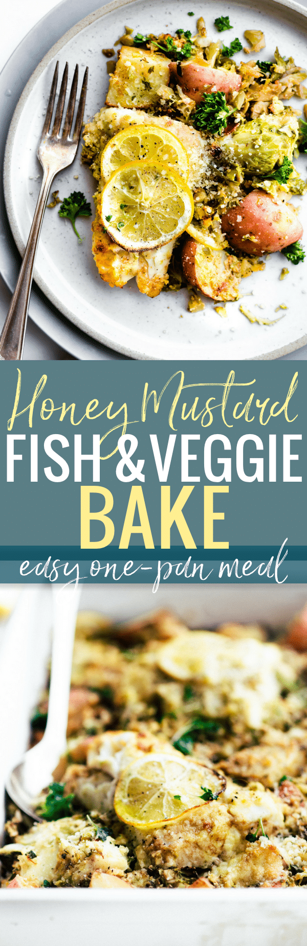 Honey mustard baked fish and vegetable recipe is a quick one pan meal ready in 30 minutes! A complete meal with healthy, light fish, then baked with wholesome vegetables.  Yes, even non fish lovers like it! And all it takes is just a few simple real food ingredients. Promise! Get a healthy dinner on the table in no time ya'll! Paleo friendly. www.cottercrunch.com