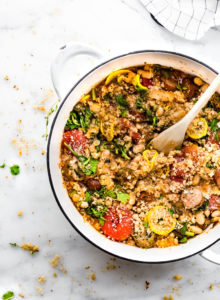 Quick Sausage Cassoulet with English Muffin Breadcrumbs