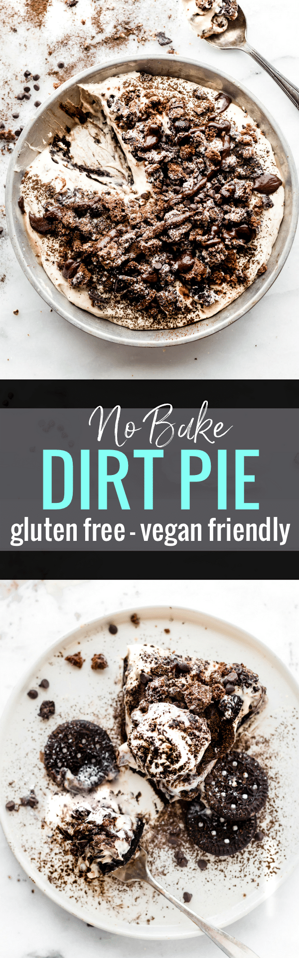 "A vegan friendly no bake dirt pie just got a healthier upgrade! This EASY no bake dessert made with GLUTEN FREE AND VEGAN FRIENDLY ""Oreo"" type cookies, coconut cream, dates, dark chocolate, and more. Plus it has the perfect 3 ingredient no bake dark chocolate crust to go with it. Easy and Tasty!  www.cottercrunch.com"