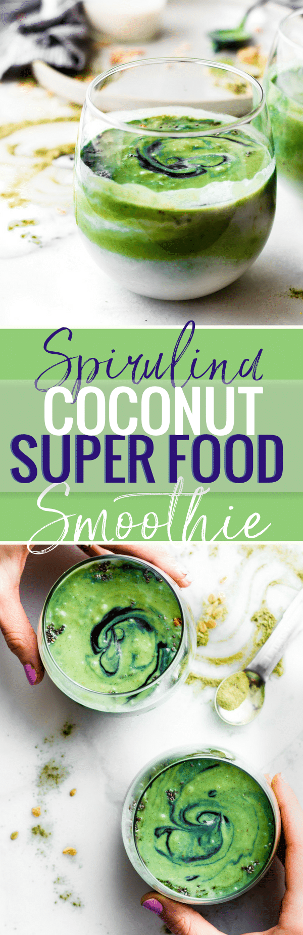 "CREAMY COCONUT SPIRULINA SUPERFOOD SMOOTHIE! an easy way to boost Energy and Protein intake with real food. No protein powder needed. A ""balanced"" creamy Superfood smoothie with coconut milk, spirulina, fruit, avocado, ginger root, and a pinch antioxidant rich spices! Paleo and Vegan friendly for all! www.cottercrunch.com"