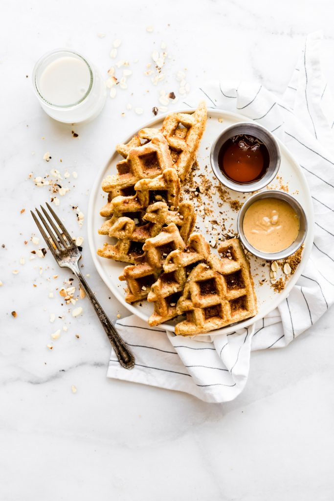 Flourless Peanut Butter Waffles {Protein Rich, Dairy Free}