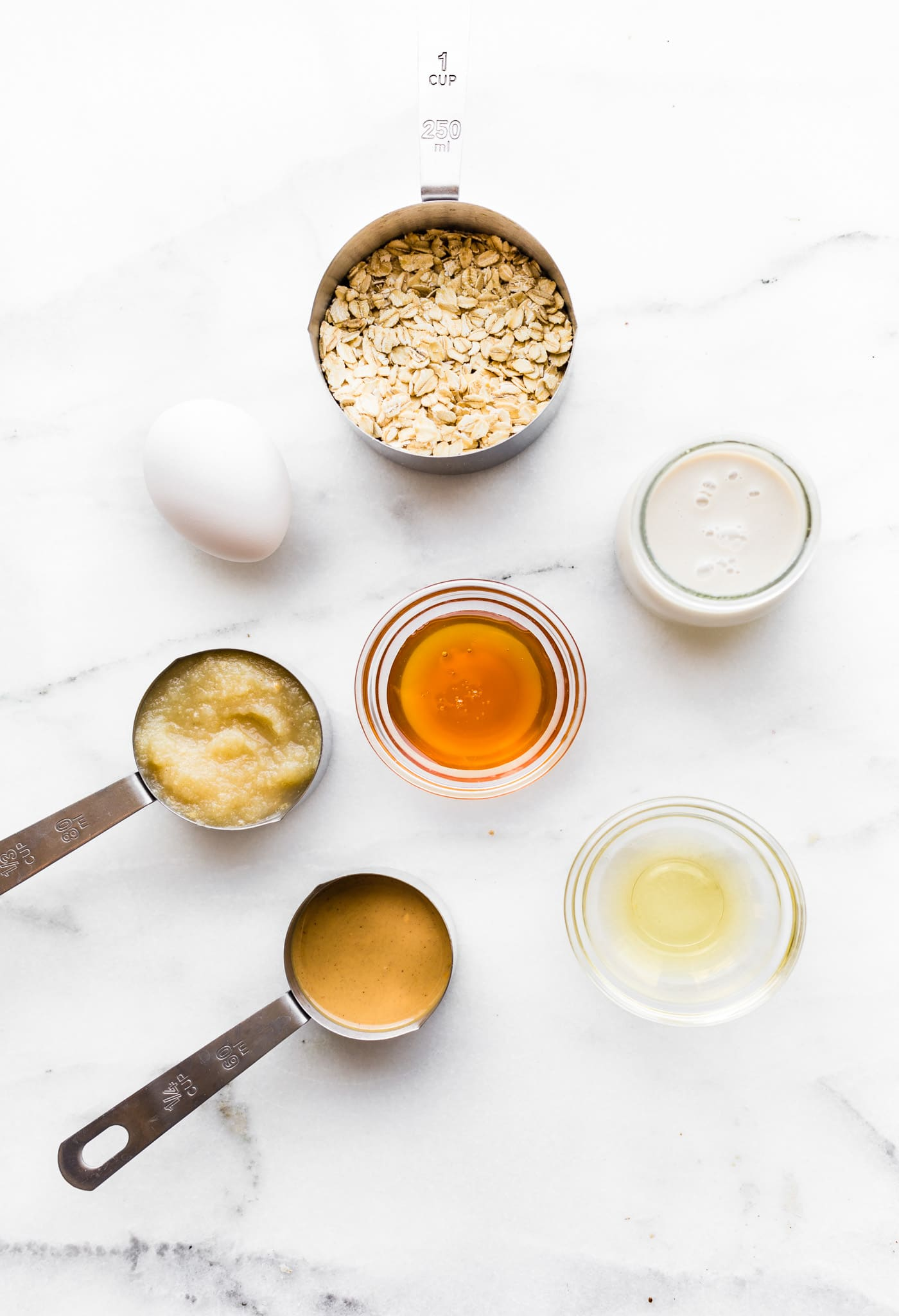 Overhead image of peanut butter waffle ingredients.