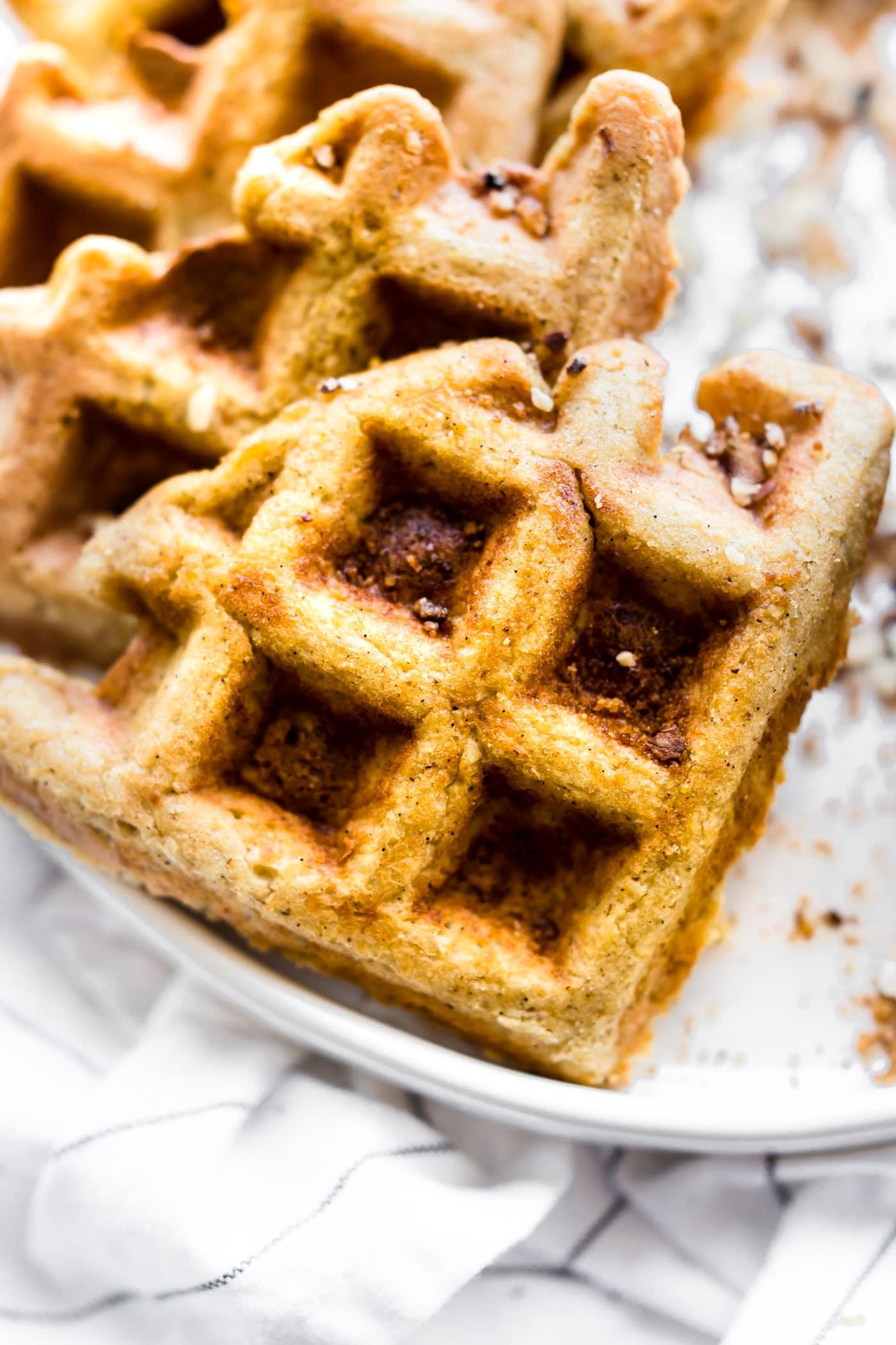 Overhead image of gluten free waffles.