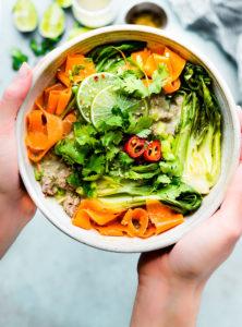 Quick Thai Green Curry Beef & Veggie Bowls