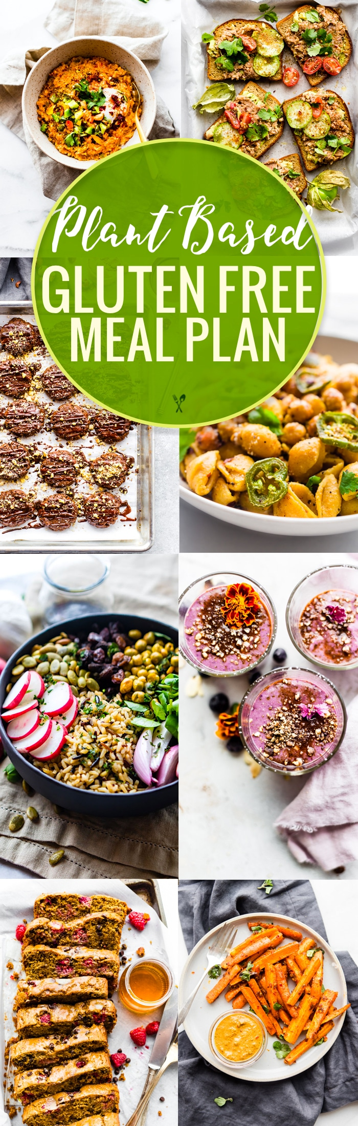 This plant based gluten-free meal plan includes plant based recipes for breakfast, lunches, dinners, snacks, and desserts. They are all nutritious, wholesome, and easy gluten-free meals that are plant based, and many of these are vegan recipes, too. These healthy meals will fuel your body in a delicious way!