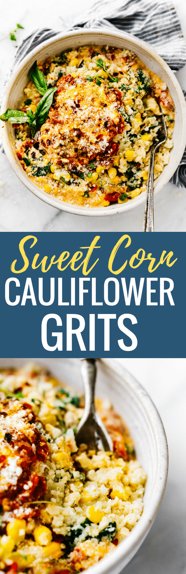 "This Creamy Sweet Corn Cauliflower Grits recipe makes for a flavor packed one pot meal! Vegetarian Comfort food made lighter and healthier! Cauliflower riced into ""grits"" with sweet corn, Gruyere cheese, spinach, basil, onion, and more! Ready in 30 minutes www.cottercrunch.com"