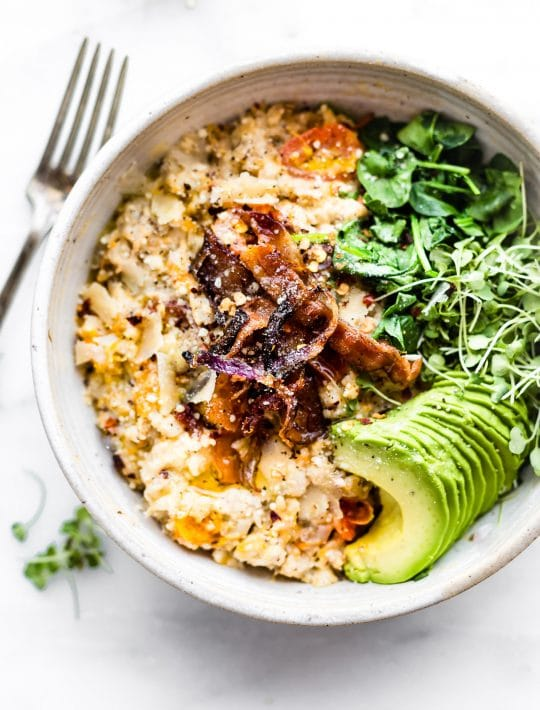 bowl of Savory Slow Cooker Oatmeal
