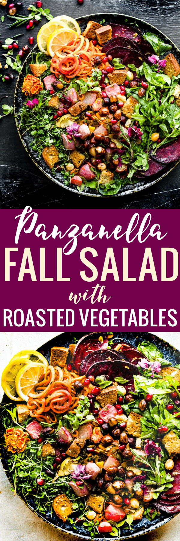 This Roasted Vegetable Panzanella Fall Salad is the perfect Autumn dish to keep you nourished all season. A wholesome Fall salad. Dairy free, gluten free. www.cottercrunch.com