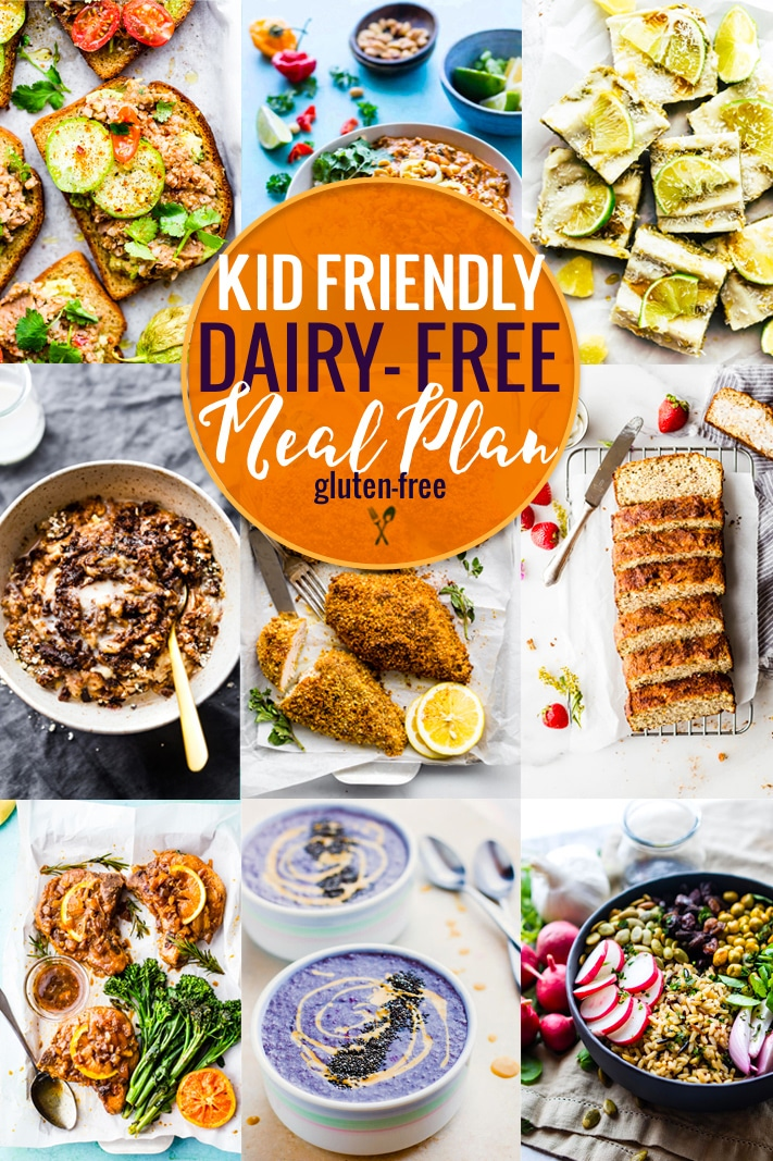 This kid friendly dairy-free meal plan is full of delicious back to school recipes that kids love! All of these kid friendly healthy recipes are gluten-free AND dairy-free, making life a little less stressful for parents of kids who have food allergies.