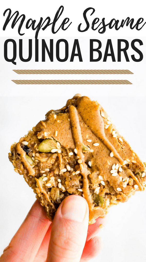These MAPLE SESAME QUINOA BARS make a delicious vegan breakfast bar or snack bar. A combo of maple, sesame seed, gluten free oats, sunflower seed butter, and quinoa create a sweet and nutty taste without nuts. A whole grain quinoa bar packed with plant based protein and nutrients.
