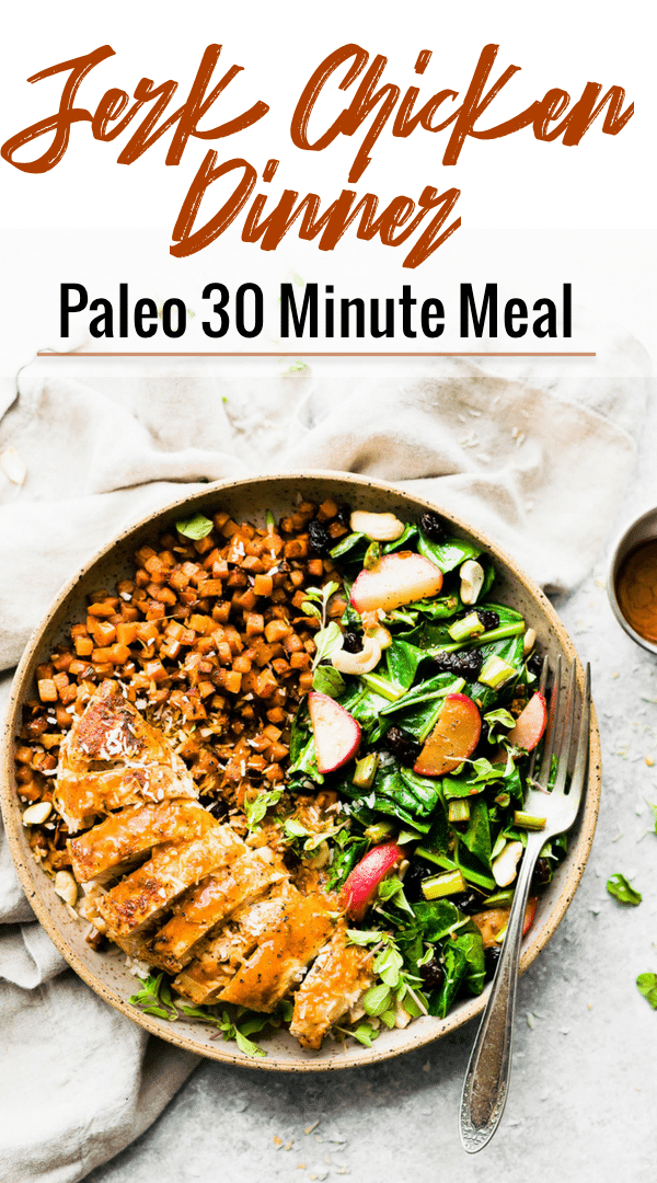 Paleo jerk chicken is tender chicken breast, seasoned with warm Caribbean spices. This gluten free and paleo jerk chicken recipe makes an easy weeknight dinner, thanks in part to the Green Chef organic meal ingredient delivery service.