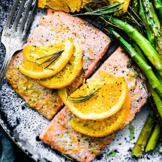 Rosemary Citrus One Pan Baked Salmon is a fresh, flavorful gluten free low carb, and paleo fish recipe. Packed with omega 3 fatty acids, this is a healthy one pan meal, made in minutes!