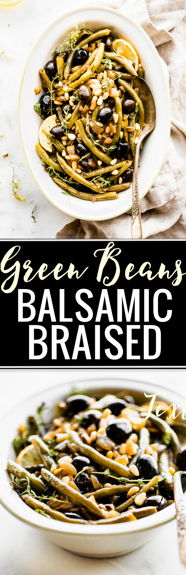 "Take your vegetable side dish to the ""next level"" with these easy BALSAMIC OLIVE-OIL BRAISED GREEN BEANS! Made with fresh green beans, thyme, balsamic vinegar, olive-oil, black olives, onion & toasted pine nuts. Paleo, vegan friendly. Delicious! www.cottercrunch.com"