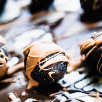 dark chocolate amaretto protein bites