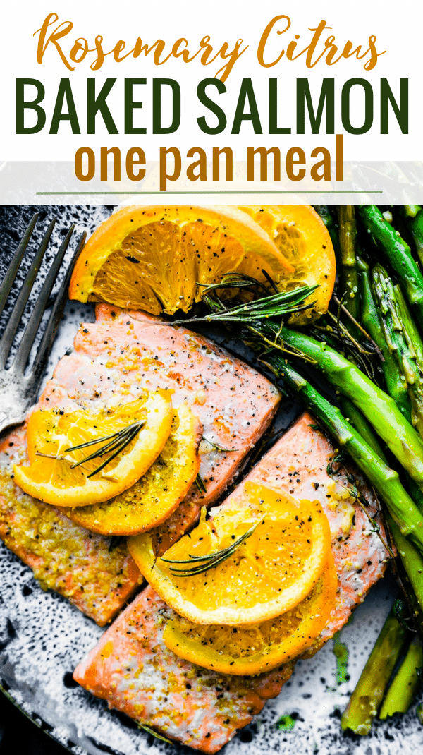 This ROSEMARY CITRUS BAKED SALMON IS a healthy one pan meal ready in 20 minutes. Fresh Rosemary, orange juice, lemon, veggies, sockeye salmon, olive oil, and spices. A deliciously nourishing meal that's simple to make. Whole 30 and #paleo friendly. www.cottercrunch.com