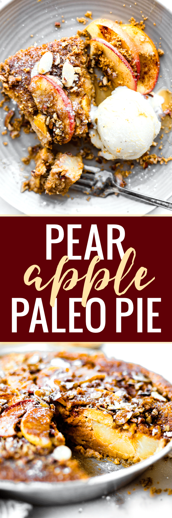 Pear apple pie is an impossibly easy paleo pie recipe! Simple to make with healthy ingredients & Seasonal fruit. A dairy free Pie that forms it's own crust. Don't forget the nutty almond pecan topping!