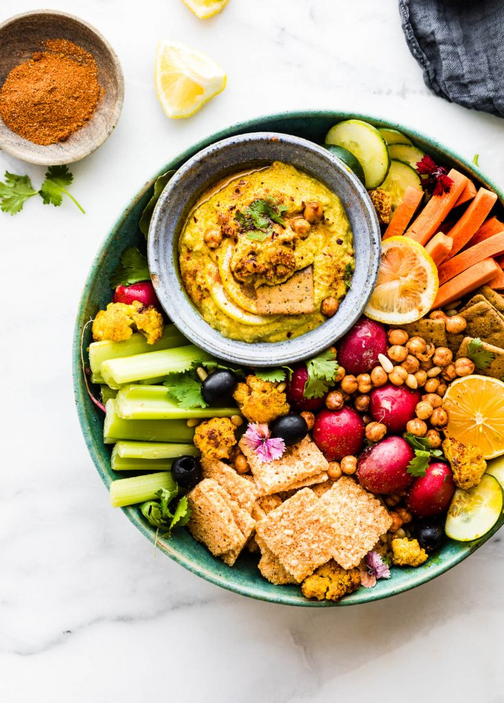 Easy Game Day Recipes include this Tandoori Roasted Cauliflower Dip, It's healthy AND delicious!