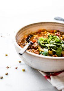vegan lentil gumbo made in an Instant Pot