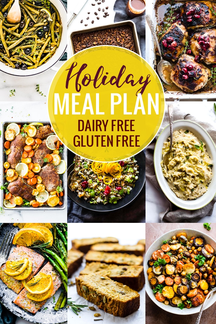 This holiday meal plan is full of gluten free and dairy free holiday recipes. Eating well for the Thanksgiving and Christmas holidays just got a whole lot easier, and this holiday meal plan will help you plan a menu of delicious and healthy holiday meals! #holidays #mealsplan #glutenfree