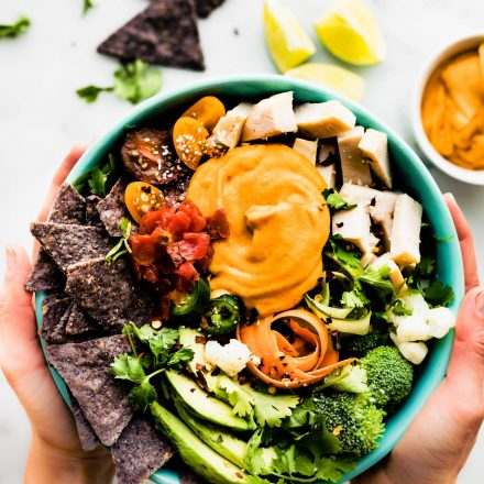 Loaded Leftover Turkey Nachos Salad Bowls