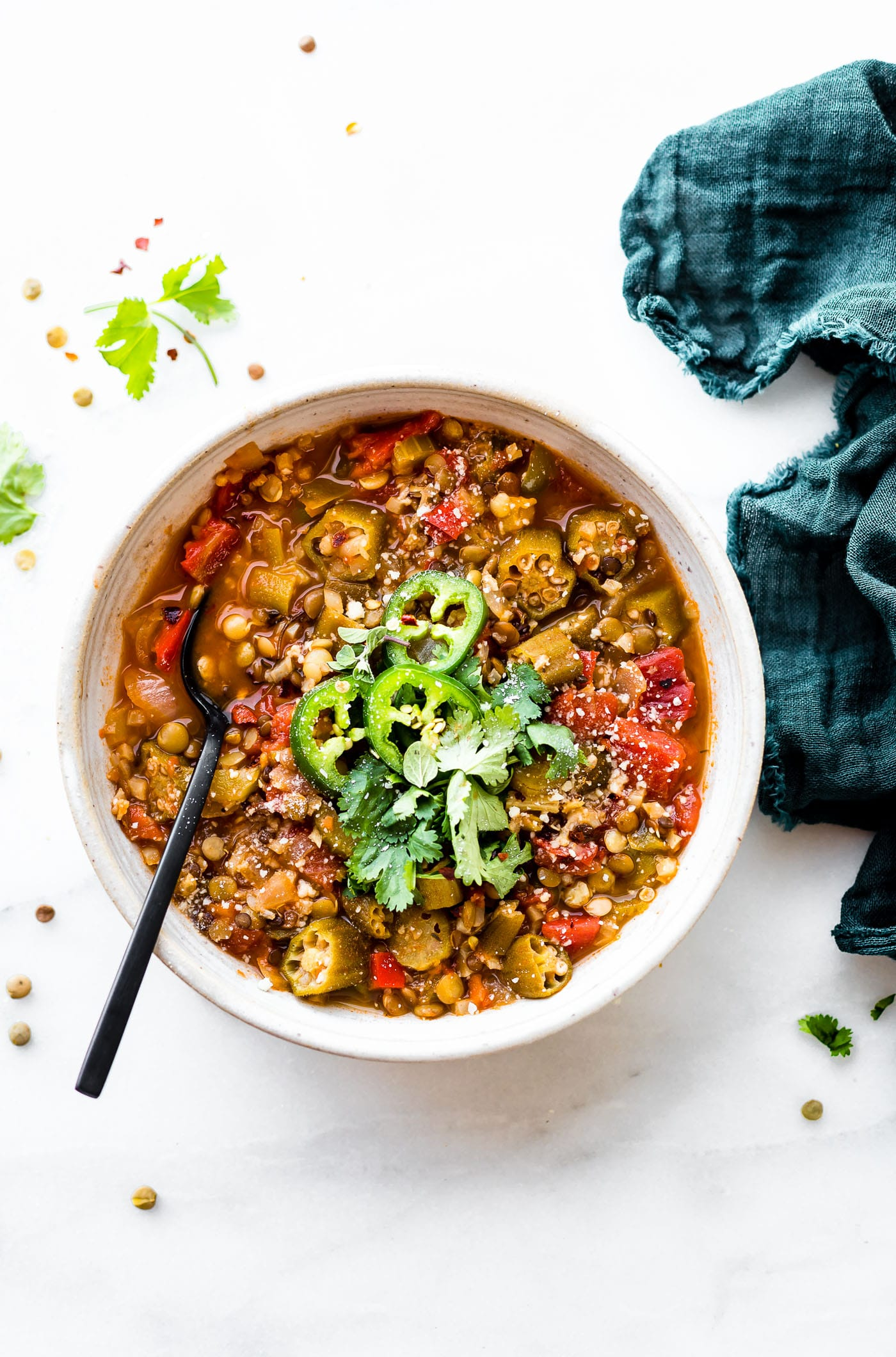 This vegan lentil gumbo recipe is wholesome, savory, and filling. A quick vegetarian gumbo that's budget friendly and full of flavor.