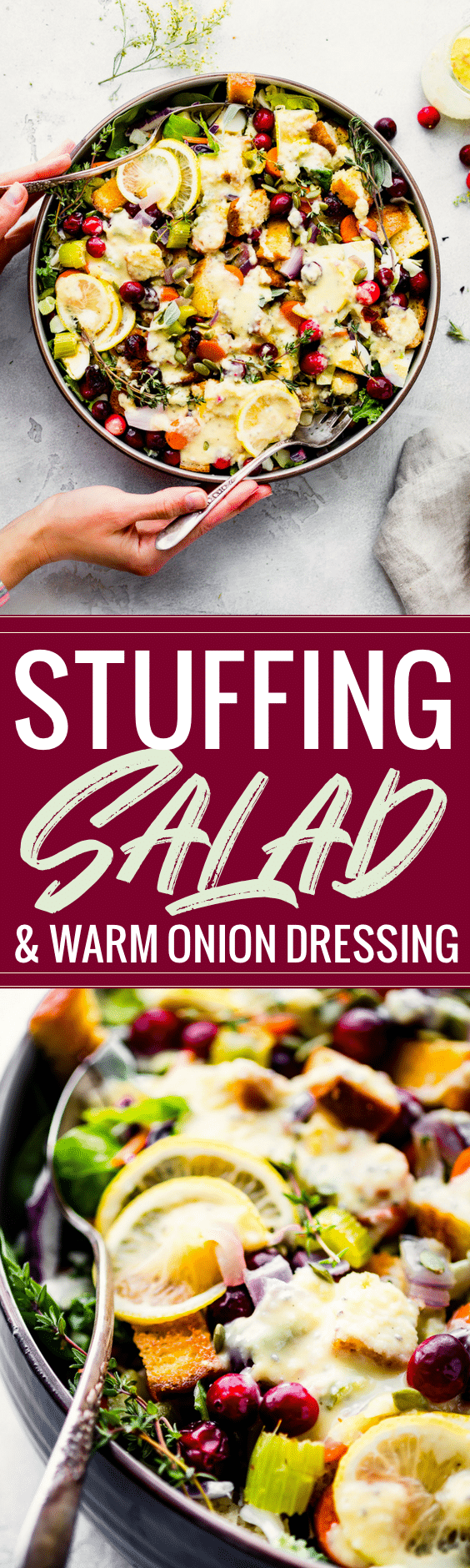 Gluten Free Stuffing Salad with Sweet Onion Dressing! A Gluten Free Stuffing recipe with a healthy twist! This easy Holiday side dish combines the comfort food of traditional stuffing with a healthy winter salad. Easy, dairy free, quick! www.cottercrunch.com
