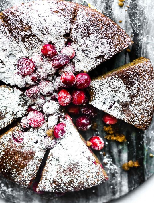 Cranberry Sour Cream Almond Cake