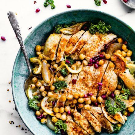 Cumin Roasted Chickpea Chicken Bowls