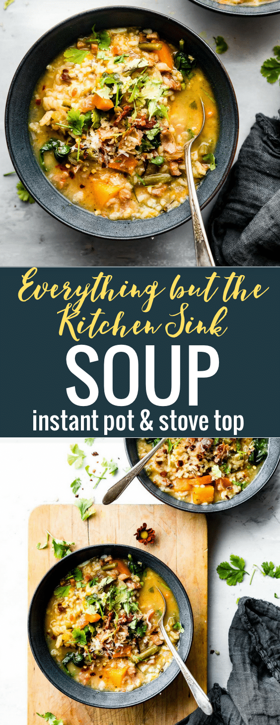 Everything But the Kitchen Sink Soup is a HEALTHY soup recipe using holiday leftovers. This easy soup recipe has instructions for cooking in an Instant Pot or on a stove top. #instantpot #healthyrecipes #soup #glutenfree