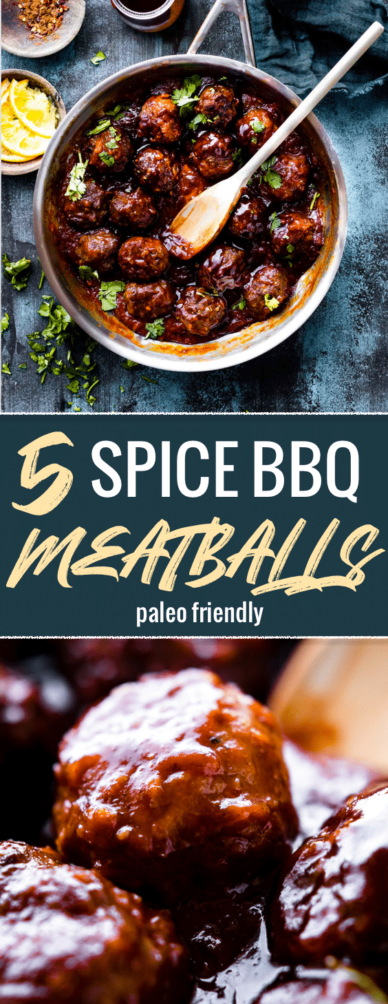 Saucy 5 Spice BBQ Meatballs! Paleo friendly with naturally sweetened Orange Hoisin sauce. Serve with cauliflower rice, rice noodles, or as an appetizer. #paleo #glutenfree #healthy