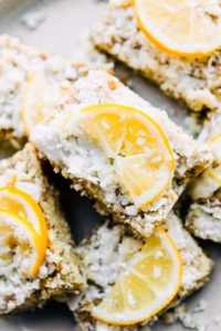 plate of no-bake lemon coconut bars