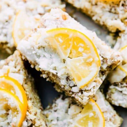 plate of no-bake lemon coconut bars