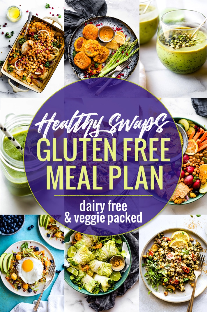 Healthy Swaps Gluten-Free Meal Plan and Tips! These Healthy Swaps not only make you healthier, but they make your life easier. A simple gluten-free, dairy free friendly meal plan filled with smart substitutions that will help you feel better. Easy, nutritious, and delicious!