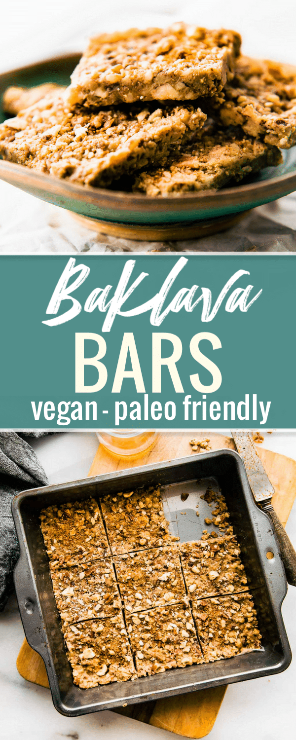 Super easy 3 Step Paleo Baklava Bars! healthy #vegan friendly bars that are packed full of sweet nutty flavor and healthy fats. Lower in carbs, sugar, and great for snacking. #PALEO #healthy #cleaneating