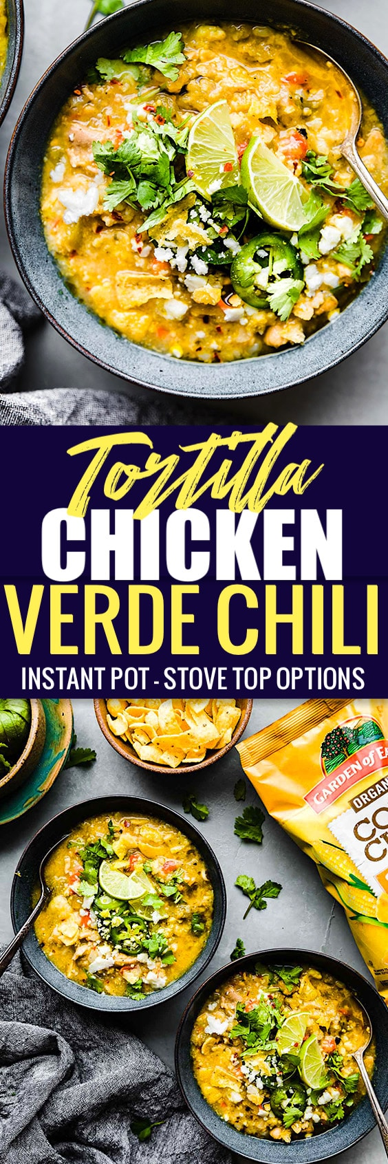 This Spicy Tortilla Chicken Verde Chili is made easy in the instant pot or stove top! A delicious chicken chili packed with wholesome gluten free ingredients and a crunchy tortilla chip topping! You'll love this healthier twist on a classic Mexican inspired Chili! No beans required. #instantpot #chili #glutenfree #healthy