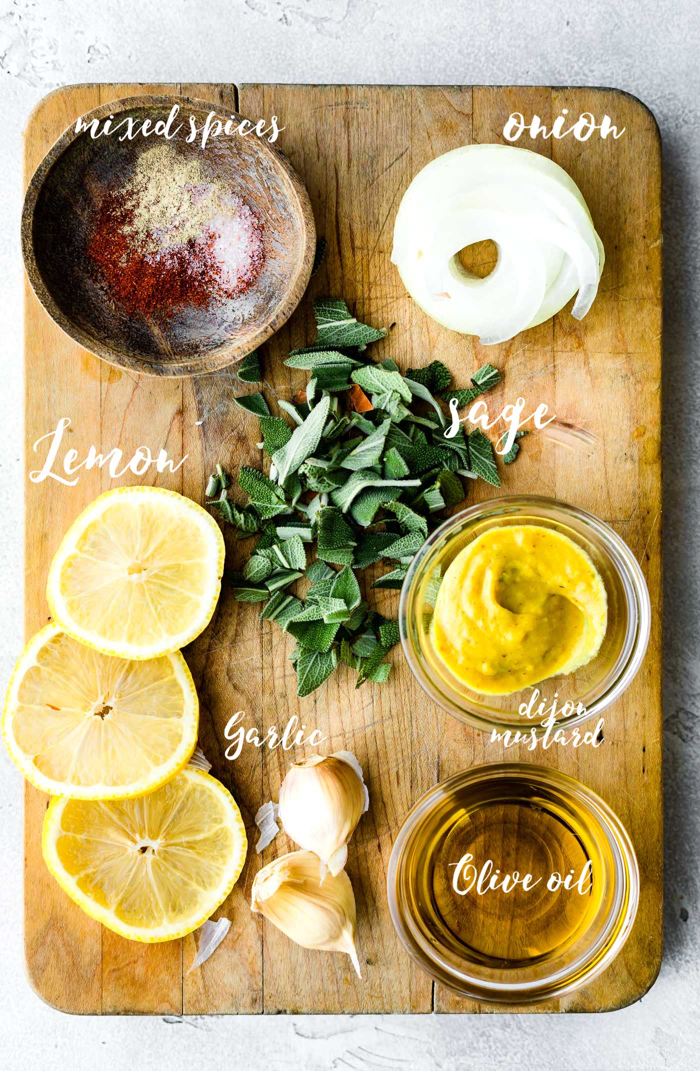 Lemon Sage marinade ingredients